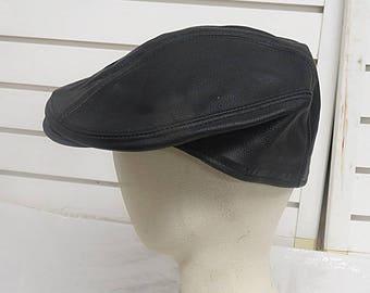 Cuffley  Black Leather Driving Motoring Cap  Hat XL  562