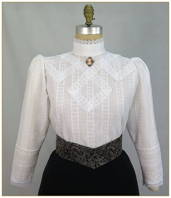 Edwardian Blouses | White & Black Lace Blouses & Sweaters Victorian Embroidered Leno Linen Blouse $98.00 AT vintagedancer.com