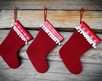 Set Of 3 Christmas Stocking Christmas Gift Christmas Decor Holiday Decor Personalized Stocking Burlap Stocking Christmas Ornament