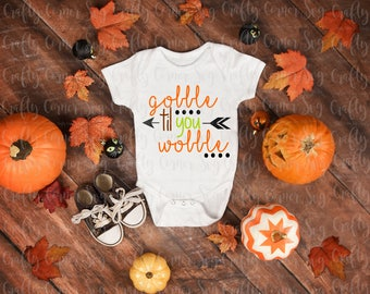 SVG-Gobble til you wobble-Cricut-Silhouette-funny-cute-Thanksgiving-Turkey-baby boy-baby girl-Vinyl-Decal-T-shirt-iron on-holiday-fall