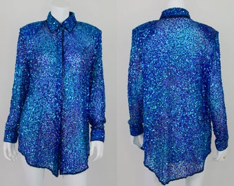 Sequin Vintage Button Blouse Top Small Shirt Silk Beaded Judith Ann L/S Blue