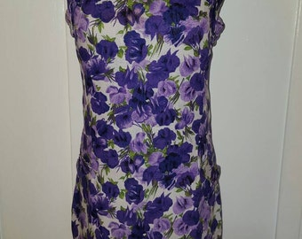 1950s 1960s Vintage Purple Floral Dress