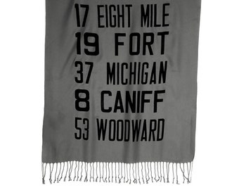 Detroit Transit Route scarf. Bus roll, main destinations. Choose black on gray and more. Large pashmina scarf. For men or women.