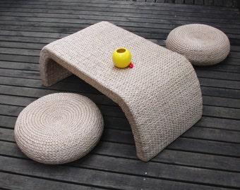 Round Rustic Floor Cushions Wedding Gift Floor Pouf Straw