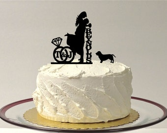 MADE In USA, Dog + Bride + Groom Personalized Wedding Cake Topper, with Your Initials & Last Name, Silhouette Wedding Cake Topper Monogram