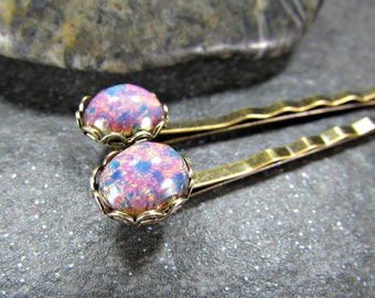 Pink Opal Hair Pins- Fire Opal Hair Pins- Brass Bobby Pins- Prom Wedding Hair Accessories for Women- Gift for Teen Girl Sister Friend