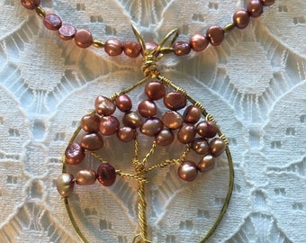 Tree of Life Pendant 55x60mm Gold with Soft Gray Freshwater Pearls
