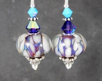 White Purple Turquoise Blue Glass Dangle Earrings, Sterling Silver Boho Earrings, Gypsy Earrings, Boro Lampwork Earrings, Art Glass Earrings