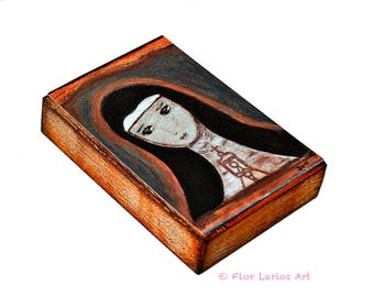 Saint Clare -  Giclee print mounted on Wood (4 x 5 inches) Folk Art  by FLOR LARIOS