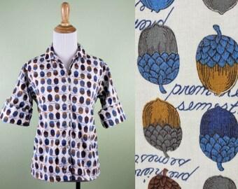 "1950's Acorn Print Cotton Blouse - Vintage 50s 60sNovelty Print Top - 40"" Bust"