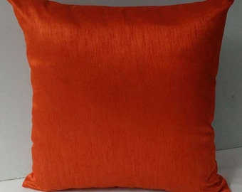 dark orange art silk pillow cover. Decorative orenge  throw pillow cover on discount set of 2 pcs  on offer. 16 x16 to 22 x22  inches