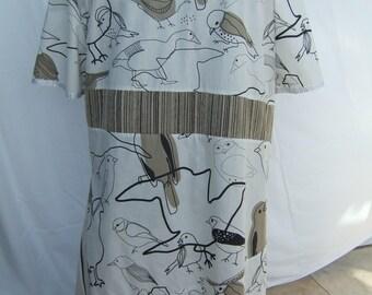 Asymetric cotton dress size 22, contrast fabrics, bird design, generous fit.
