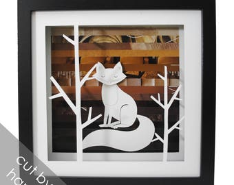 woodland FOX shadowbox- made from recycled magazines, wings, delicate, paper cut, handmade, nature, forest, brown, trees, animal