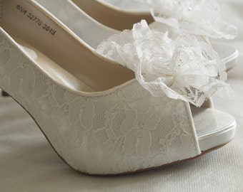 Size 8 1/2 White Lace high heels Shoes Ready to ship lace flower crystals,Peep Toe Platform Heels, Lace Pumps, Ruffled Lace Flower, Crystals