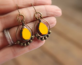 Sunflower Yellow Earrings - Czech Glass Earrings - Bohemian Earrings - Boho Earrings - Teardrop Beads - Boho Dangles - Gift Ideas - For Her