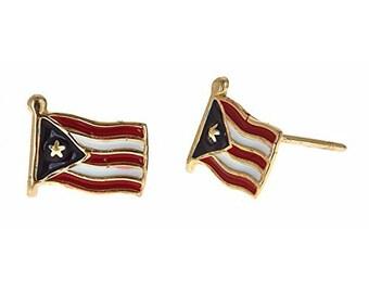 14K Yellow Gold Studs Earrings w. Puerto Rico Flag