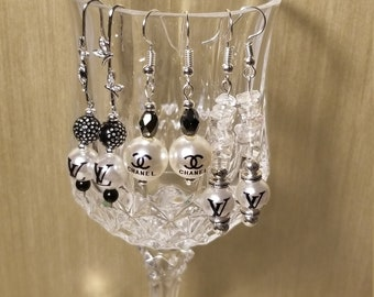 Silver Black and Pearl Earring Dangles