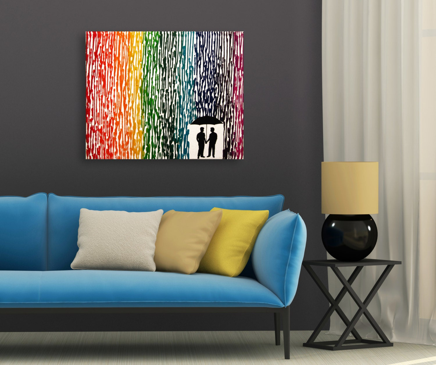 Gay Wedding Gift Melted Crayon Art Couple For