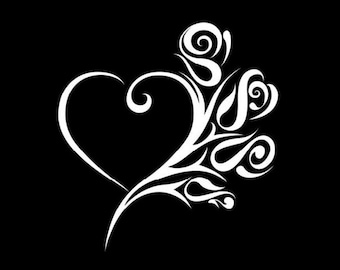 Tribal Roses and Heart Vinyl Decal