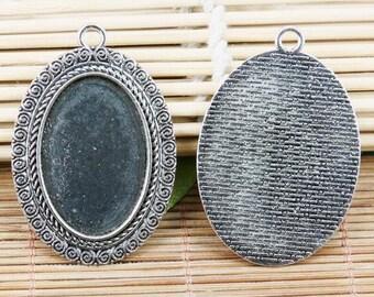 2pcs tibetan silver tone textured back oval cabochon settings EF2089