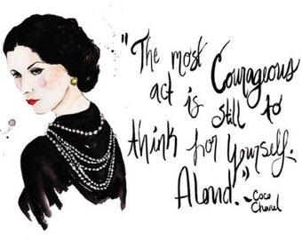 Coco Chanel portrait and quote Print of Original Watercolor Fashion Illustration