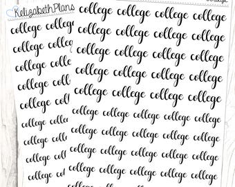 College (Lettering Collection)   Student, Study, Higher Education, Planner Stickers