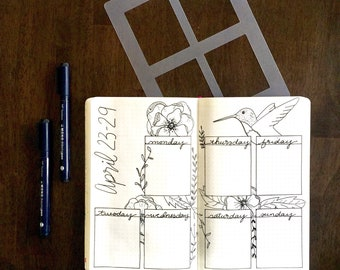 Rectangle Weekly Spread Bullet Journal Stencil for Travelers Notebook Leuchtturm Moleskine Field Notes A5 Planner