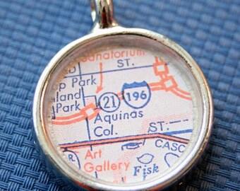 Aquinas College Map Pendant, Graduation Gift, Aquinas College Grand Rapids Michigan Charm, Silver Round Charm