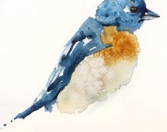 WATERCOLOR BIRD, Blue Bird, WATERCOLOUR Print,  Robin Bird Art, Wall Art, Watercolour Art, Watercolor Art