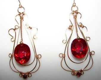 CIJ 14K Gold Filled Red Topaz and Garnet Earrings