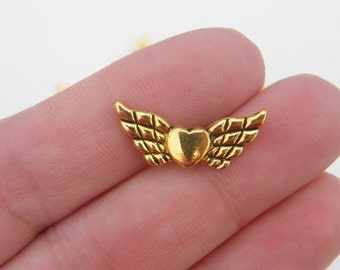12 Angel wing spacer beads antique gold tone GC392
