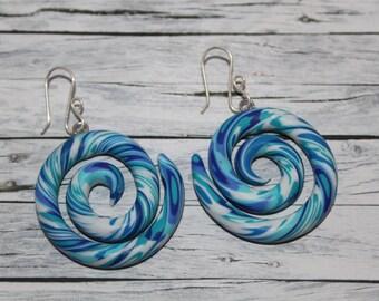Blue snake earring