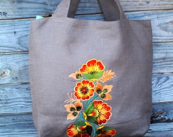 Brown Linen Tote Bag, Embroidered Bag, Natural linen Shopping Bag, Medium size, Grocery Reusable Bag, Eco-friendly, Natural Beach Tote Bag