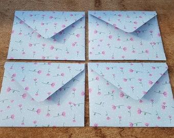 Blue floral envelopes, pink flowers, set of four handmade envelopes, spotty decorative paper, patterned envelopes