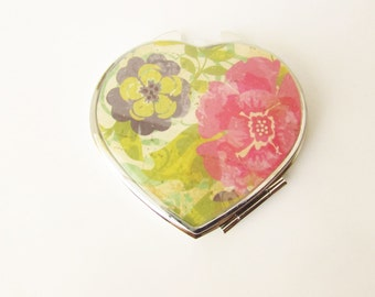 Compact Mirror - Heart Compact - Mirror Compact - Pocket Mirror - For Makeup Bag - Bridesmaid Gift