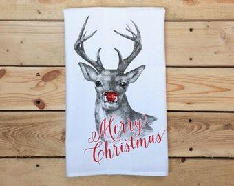 Merry Christmas Tea Towel, Reindeer Flour Sack Towel, Rudolph Tea Towel, Holiday Tea Towel, Christmas Dish Towel, Holiday Kitchen Decor,