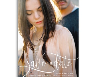 Save The Date Card Photoshop Template - Engagement Announcement Template - For Photographers - Photoshop Required - NORA & BENJAMIN - 1643