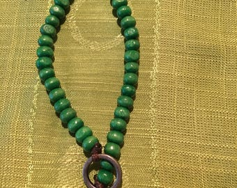 Green beaded elephant bracelet