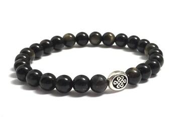 Scottish Celtic Infinity Endless Knot Bracelet, HIs & Hers Eternity Couples Bracelets, Obsidian Beaded Bracelet, Mens Inspirational Jewelry