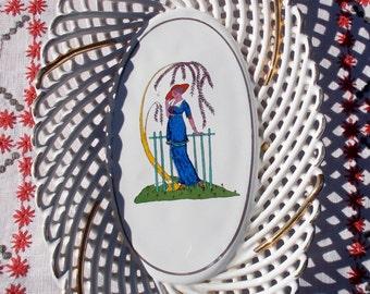 40s 50s Lady Under Wisteria Basketweave TRINKET Boudoir Tray