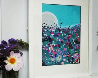 "The Moon sleeps at night size 12"" x 9"" original art"