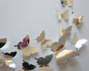 12 3D silver mirror Butterfly Wall Stickers