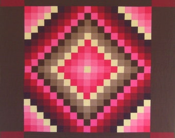 "PA Amish Quiltsy Quilt Sunshine & Shadow Wall Quilt RedPink Mod Traditional 54"" x 54"""