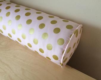Metallic Gold Polka Dots Bolster Pillow Cover,  6''x16''Pink/Gold Dots Bolster Pillow Cover, 18''x18'' Nursery Pillow Cover, READY TO SHIP