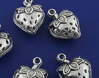 Strawberry shape 6 charms in antique silver