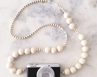 Handmade Camera Strap Necklace // Sun Bleached White