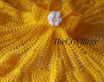 Yellow Crochet baby dress, Handmade flower girl dress, White Flower Dress, Crochet dress, Baby girl dress, crochet girl dress