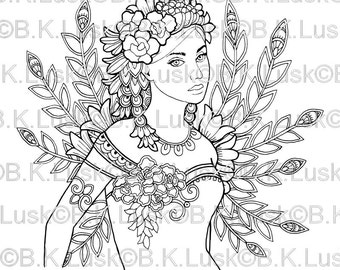 B. K. Lusk - Lilah -Digital Download Digistamp - Clipart Zentangle Fairy Coloring Page - Tattoo Flash Scrapbook Craft Art