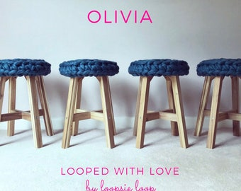 Chunky knit Olivia stool   Merino wool & solid Acacia wood stool   sumptuous treats for you and your home