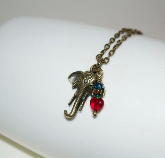 Elephant Necklace, Elephant Head Charm, Elephant Jewelry, Animal Necklace, Everyday Jewelry, Elephant Lover, Safari Necklace, Elephant Charm